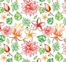 热带花朵无缝背景