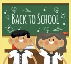 卡通一起回校上学的同学