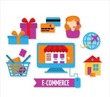 彩色电子商务概念图