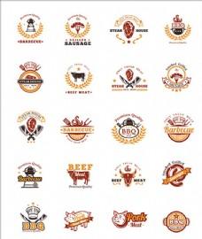 西式烧烤标志徽章贴纸商标