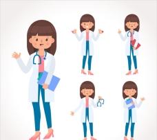 带剪贴板和听诊器的微笑女医生