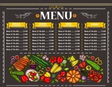 素食餐厅黑底菜单