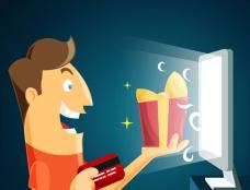 微笑的男人在网上买礼物插图