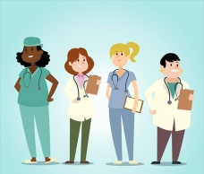 一群微笑的女医生