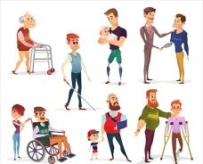 卡通白底残疾人插图