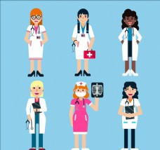使用不同医疗工具的女医生
