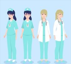医生和护士的平面插图