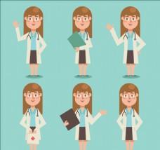 不同姿势的女医生集合