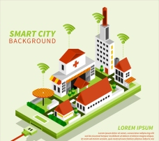 等距立体三维绿色智能城市