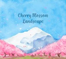 美丽的水彩樱桃树林风景
