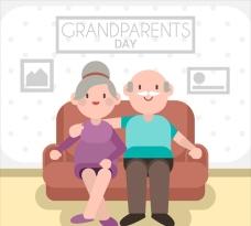 在客厅的祖父母插图
