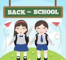 穿着校服回校上学的学生