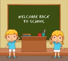 卡通在教室黑板上的孩子