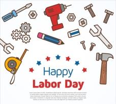 劳动节劳动工具概念海报设计