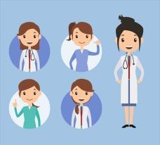各类女性医生卡通插图
