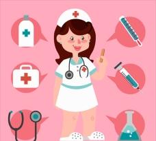 微笑的护士和医疗工具插图