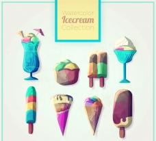 水彩绘冰淇淋
