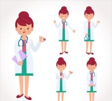 女医生的药丸和听诊器