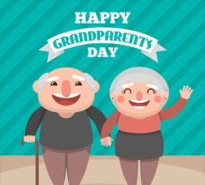 老人节卡通外祖父母插图
