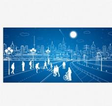 城市景观线描
