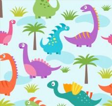 卡通恐龙无缝背景