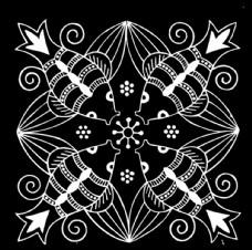 中国古典花纹飞鱼对称图案