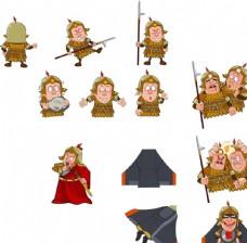 手绘古时战士将军各种造型