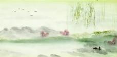 水墨彩色风景画背景图