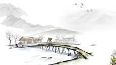 水墨小桥流水人家背景图