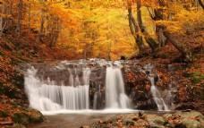 秋日山林瀑布美景