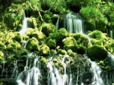 唯美山林瀑布美景