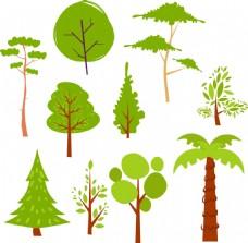 矢量卡通装饰元素小树
