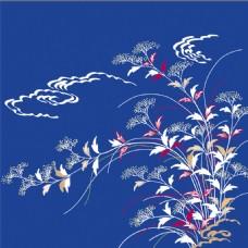 蓝色花束云朵装饰图