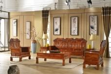 中式客厅水墨挂画装修效果图