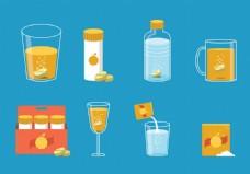 橙汁饮料矢量素材