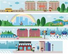 文民市民生活城市建筑街道文化扁平化矢量图