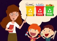 教育教学垃圾分类矢量素材