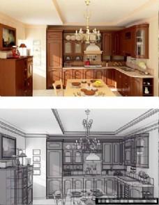 开放式厨房模型