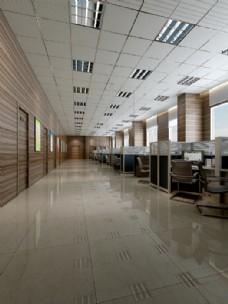 简约风格办公室地板渲染效果图