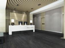 黑色木地板吧台效果图