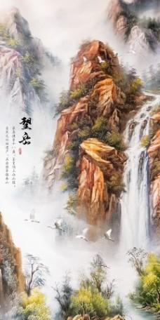 仙鹤山水瓷砖高清背景墙