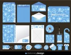 蓝色碎花企业标识应用矢量素材