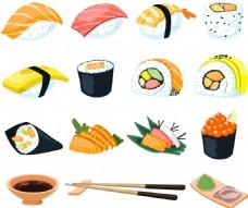 扁平化日本料理寿司图标