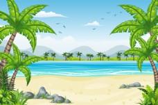 夏天的海边风景插画