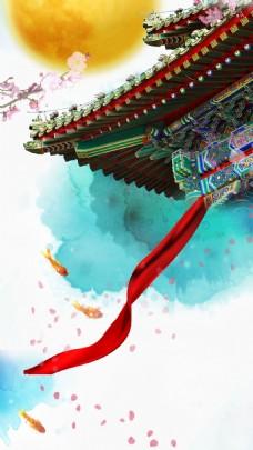 彩色花纹屋檐丝带中秋节H5背景素材