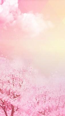 浪漫梦幻粉色花朵H5背景素材