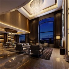 3D渲染现代风格客厅效果图