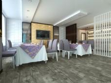 简约客厅实木木地板3D渲染图