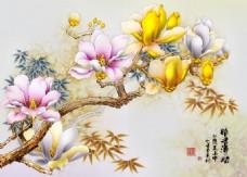 精美玉兰花背景墙素材