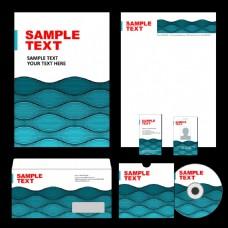 蓝色波浪企业标识应用矢量素材